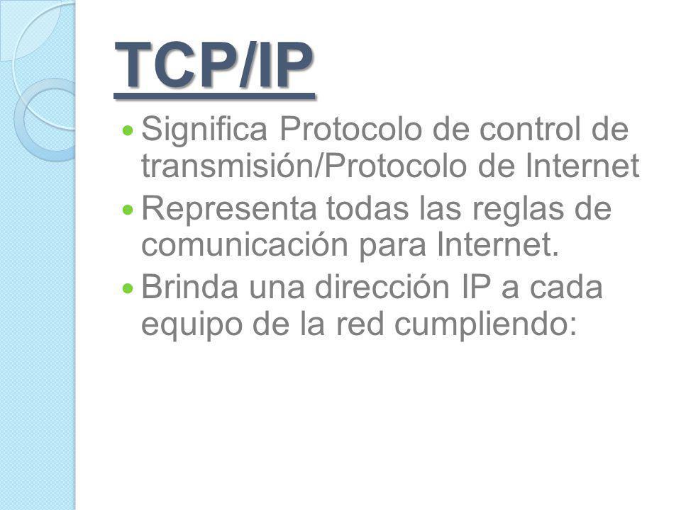 TCP/IP Significa Protocolo de control de transmisión/Protocolo de Internet. Representa todas las reglas de comunicación para Internet.