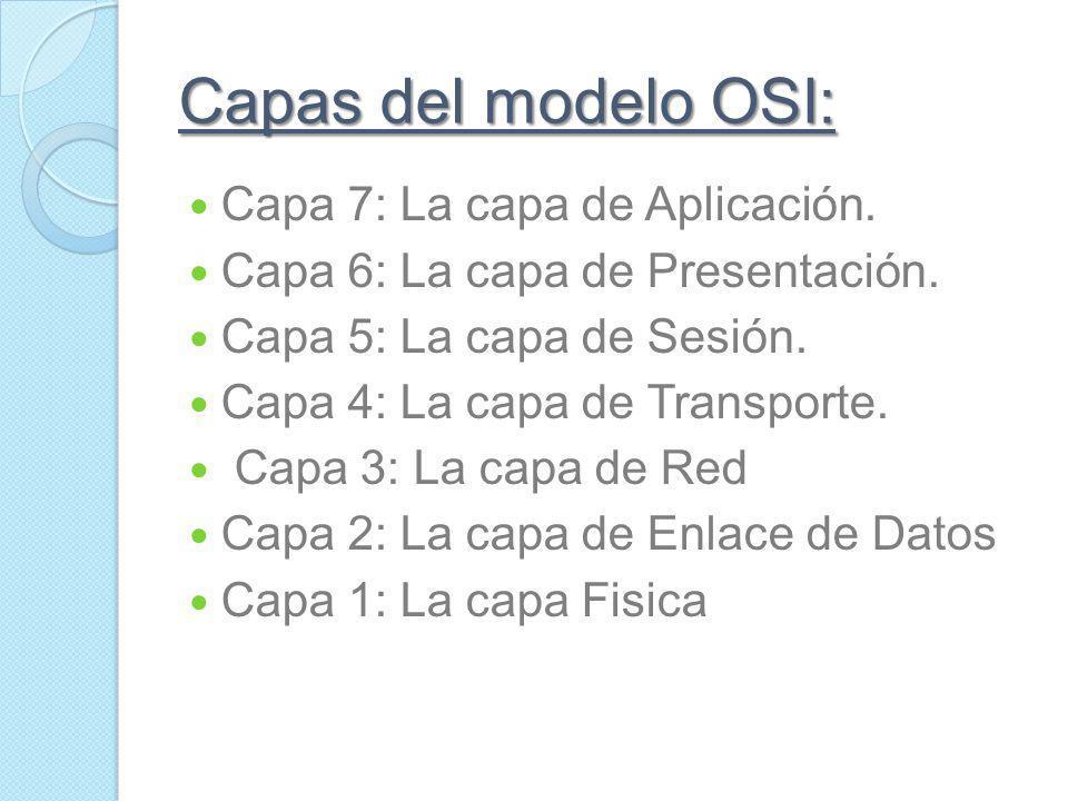 Capas del modelo OSI: Capa 7: La capa de Aplicación.