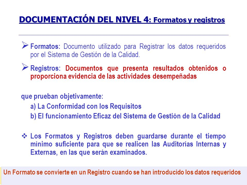 DOCUMENTACIÓN DEL NIVEL 4: Formatos y registros