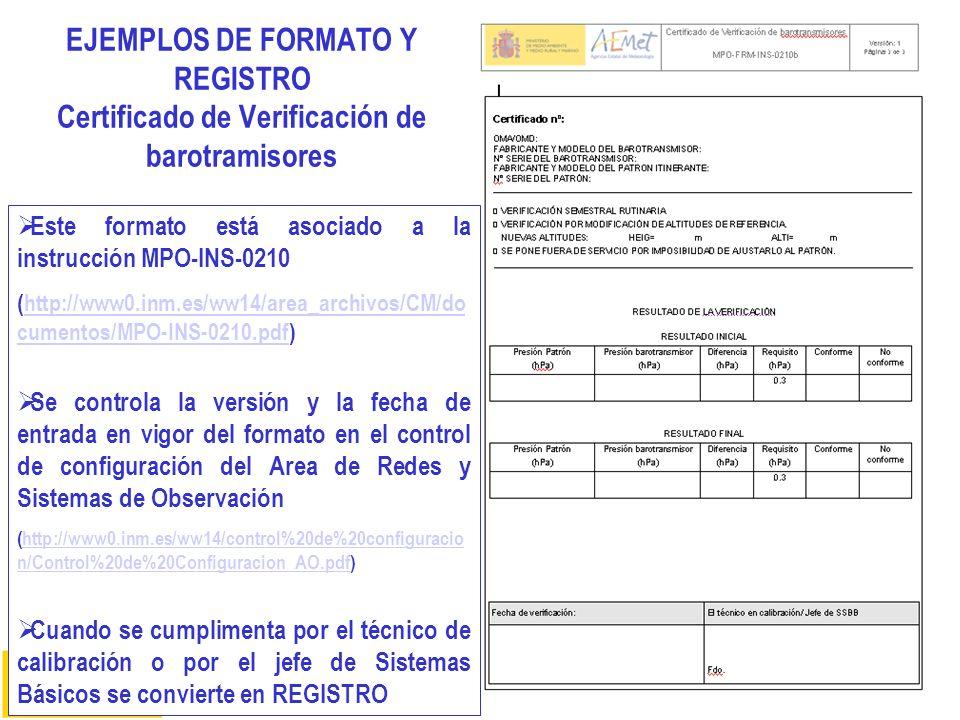 EJEMPLOS DE FORMATO Y REGISTRO Certificado de Verificación de barotramisores