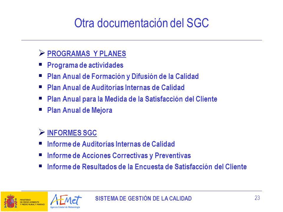 Otra documentación del SGC