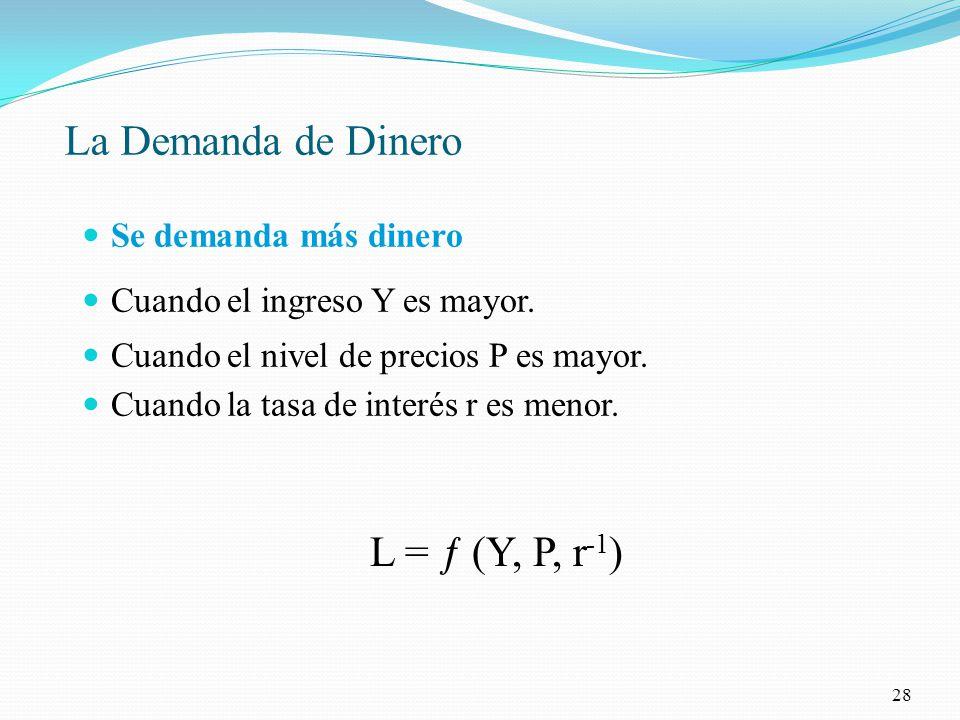 La Demanda de Dinero L = ƒ (Y, P, r-1) Se demanda más dinero