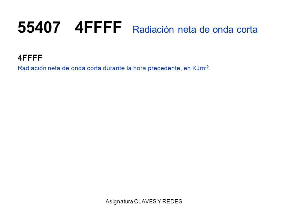 55407 4FFFF Radiación neta de onda corta