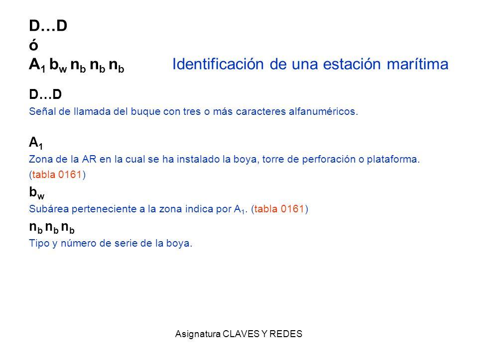 D…D ó A1 bw nb nb nb Identificación de una estación marítima