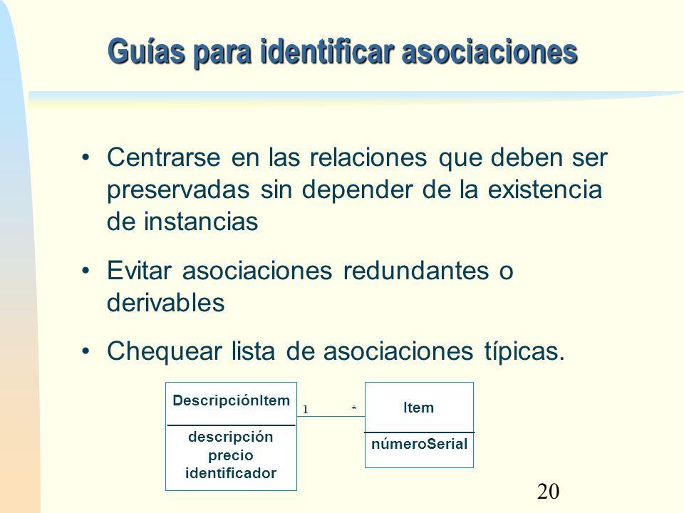 Guías para identificar asociaciones