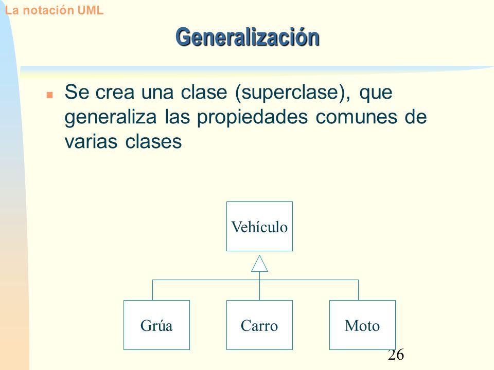 La notación UML 12/02/13. Generalización. Se crea una clase (superclase), que generaliza las propiedades comunes de varias clases.