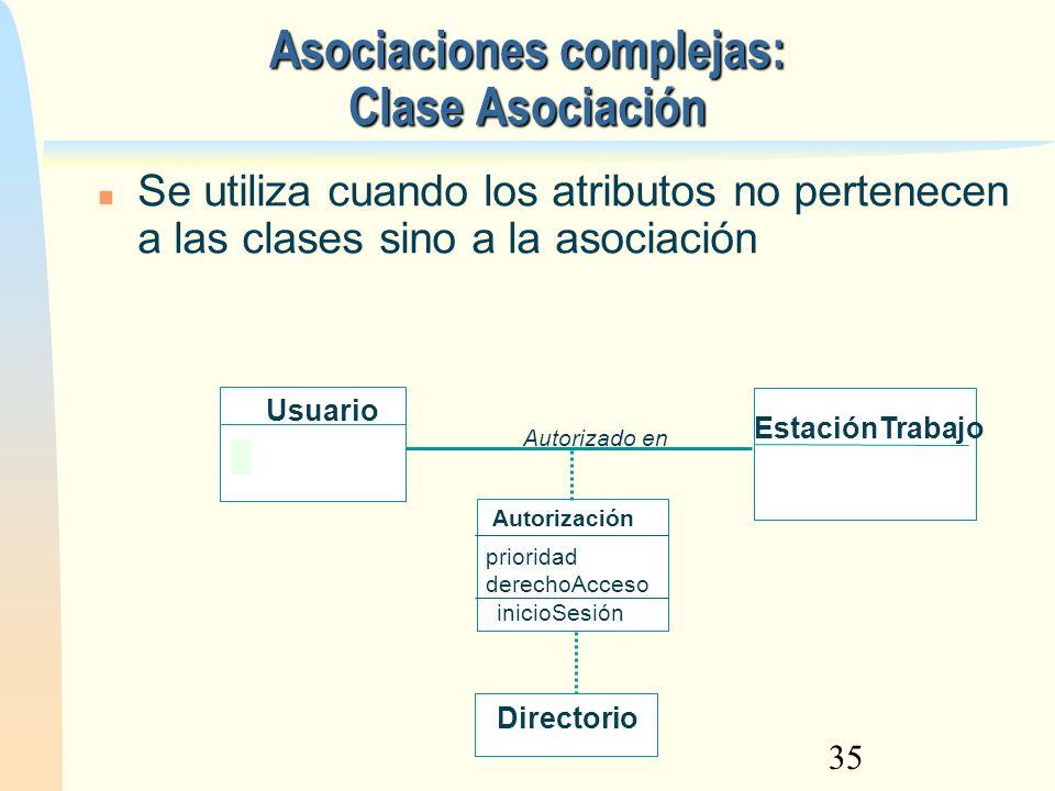 Asociaciones complejas: Clase Asociación