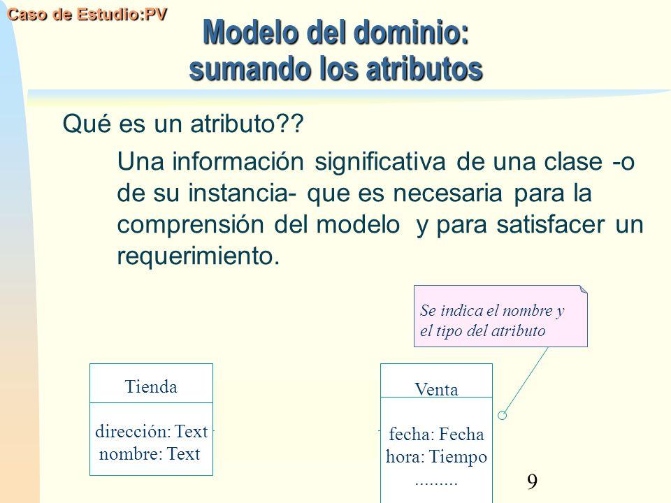 Modelo del dominio: sumando los atributos