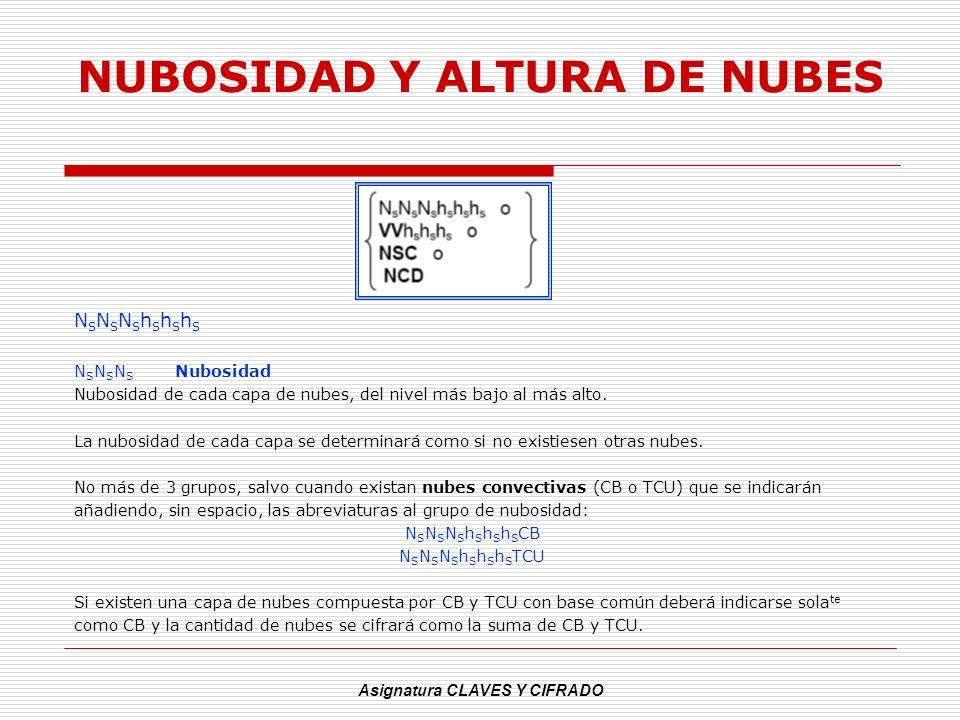 NUBOSIDAD Y ALTURA DE NUBES