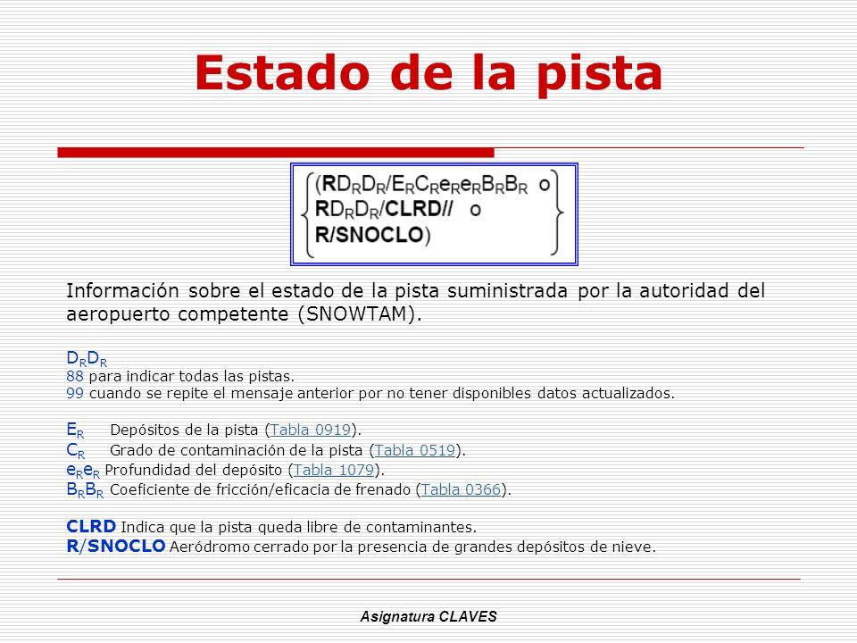 Estado de la pista Información sobre el estado de la pista suministrada por la autoridad del. aeropuerto competente (SNOWTAM).