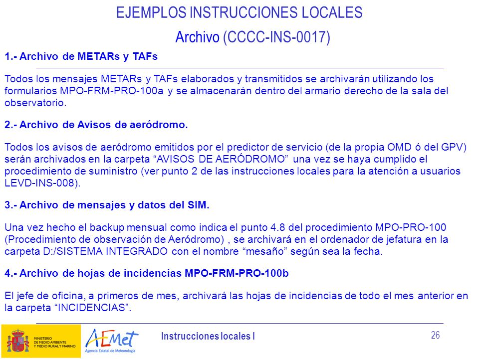 EJEMPLOS INSTRUCCIONES LOCALES Archivo (CCCC-INS-0017)