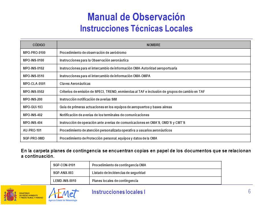 Manual de Observación Instrucciones Técnicas Locales