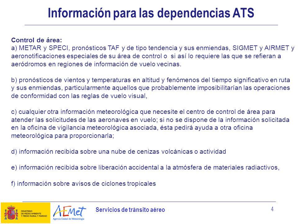 Información para las dependencias ATS
