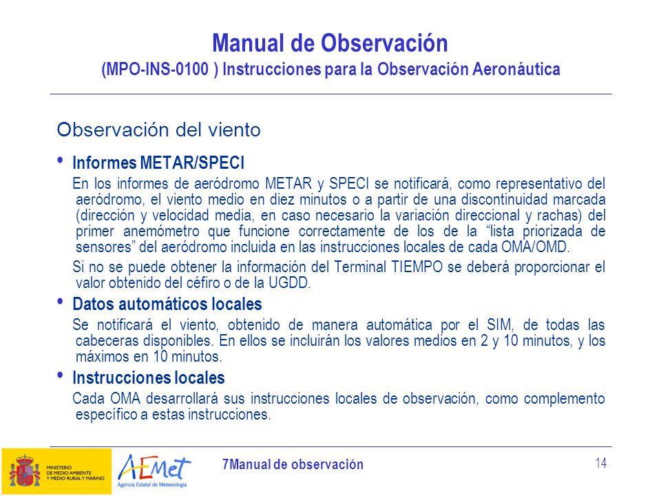 Manual de Observación (MPO-INS-0100 ) Instrucciones para la Observación Aeronáutica