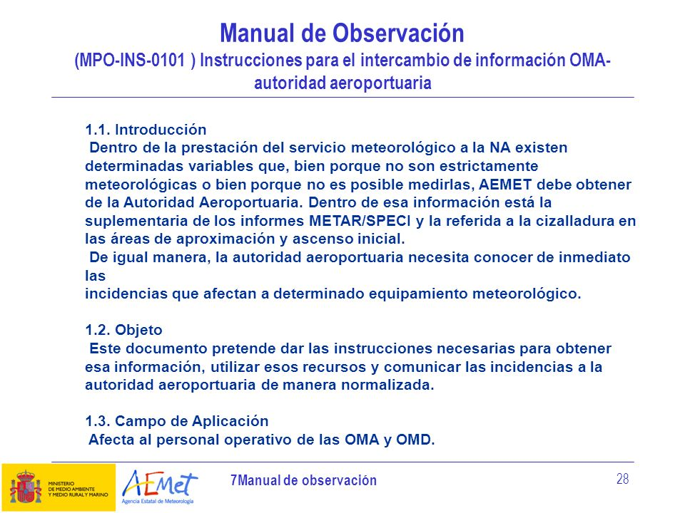 Manual de Observación (MPO-INS-0101 ) Instrucciones para el intercambio de información OMA-autoridad aeroportuaria