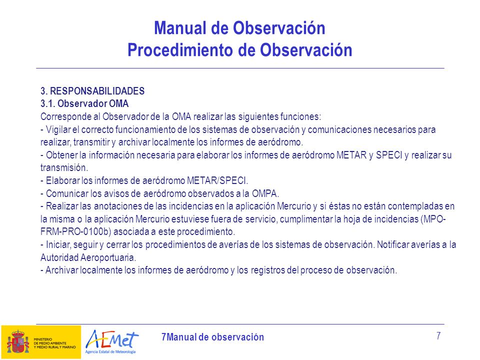 Manual de Observación Procedimiento de Observación