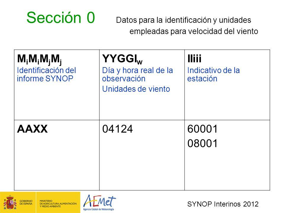 Sección 0. Datos para la identificación y unidades