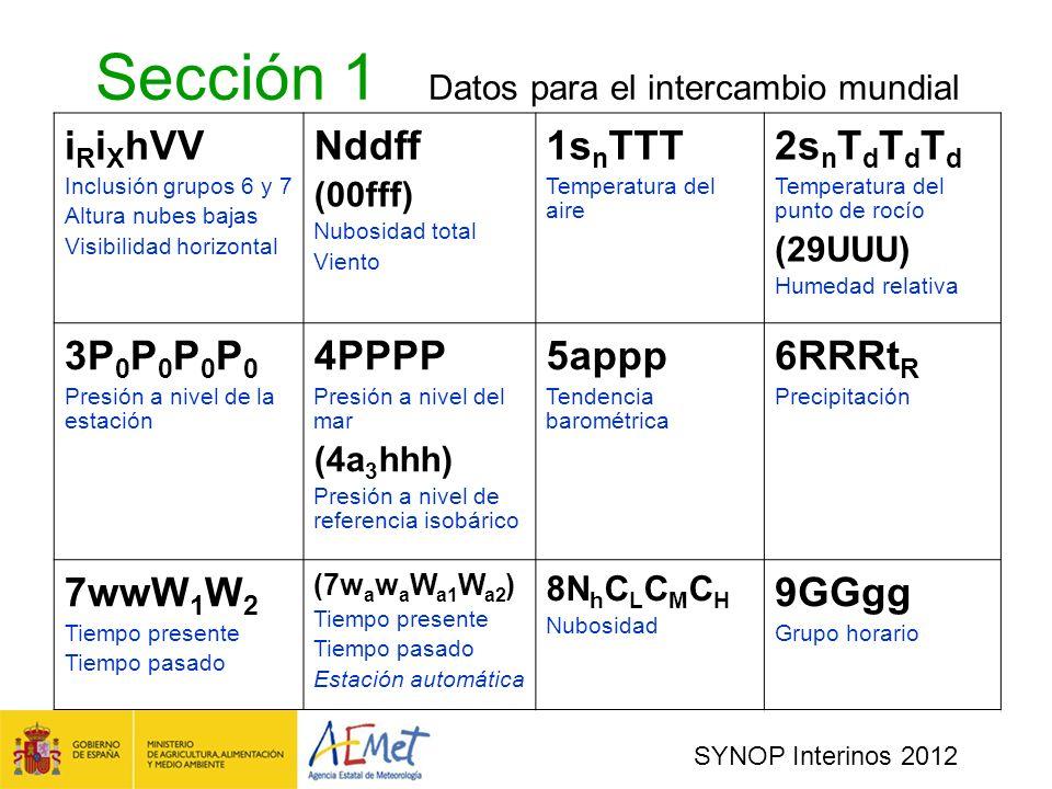Sección 1 Datos para el intercambio mundial