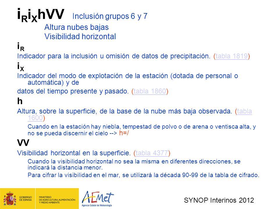 iRiXhVV. Inclusión grupos 6 y 7. Altura nubes bajas