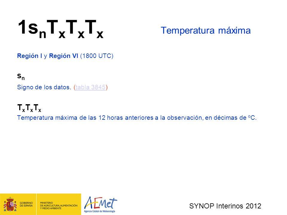 1snTxTxTx Temperatura máxima
