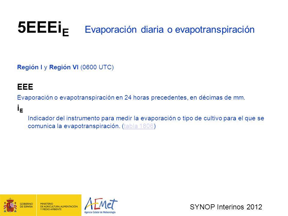 5EEEiE Evaporación diaria o evapotranspiración
