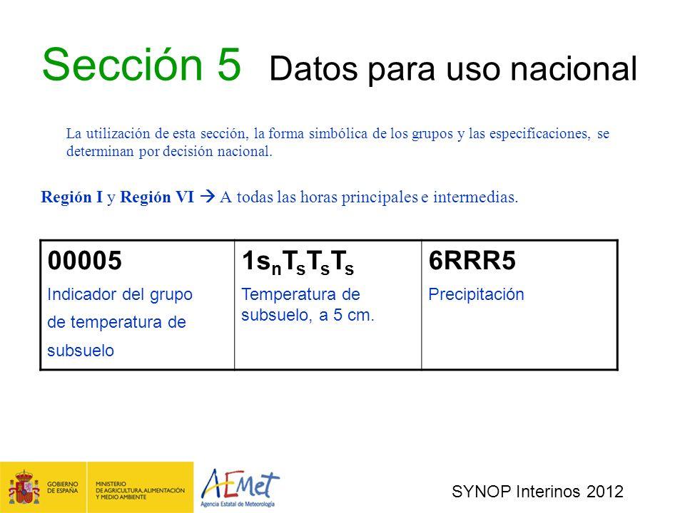Sección 5 Datos para uso nacional