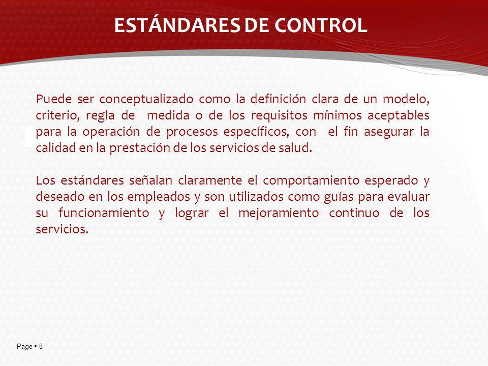 ESTÁNDARES DE CONTROL