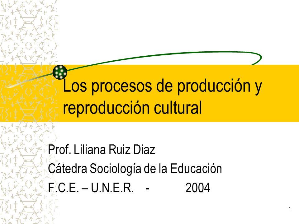 Los procesos de producción y reproducción cultural