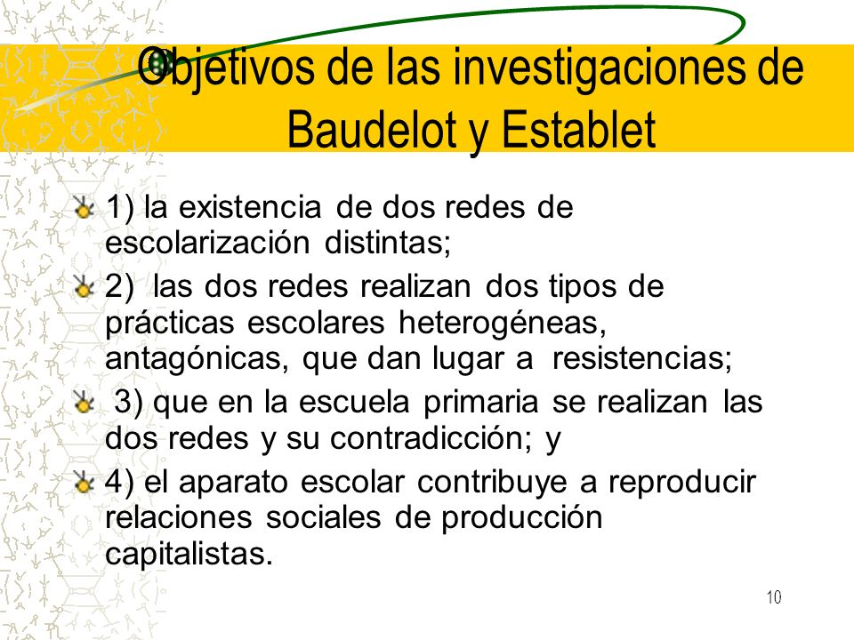 Objetivos de las investigaciones de Baudelot y Establet