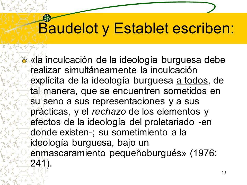 Baudelot y Establet escriben: