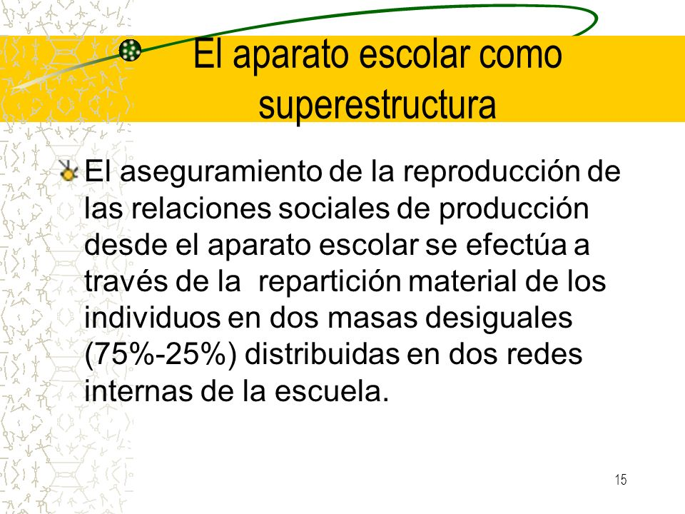 El aparato escolar como superestructura