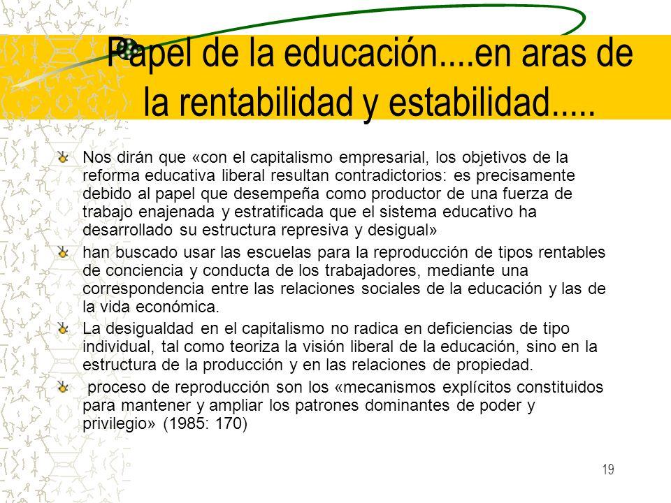 Papel de la educación....en aras de la rentabilidad y estabilidad.....