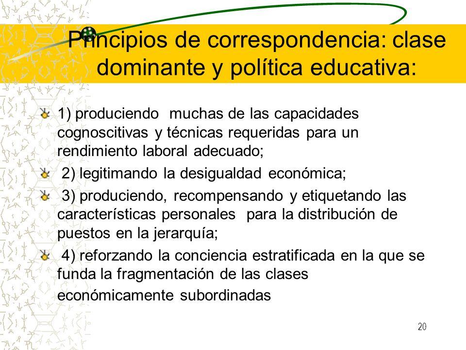 Principios de correspondencia: clase dominante y política educativa: