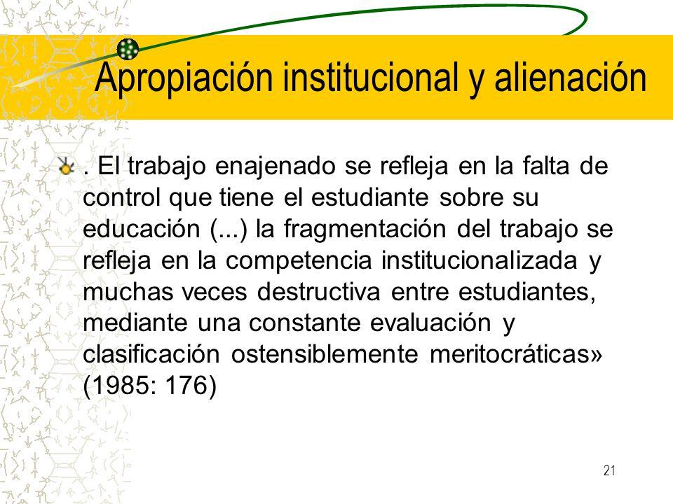Apropiación institucional y alienación