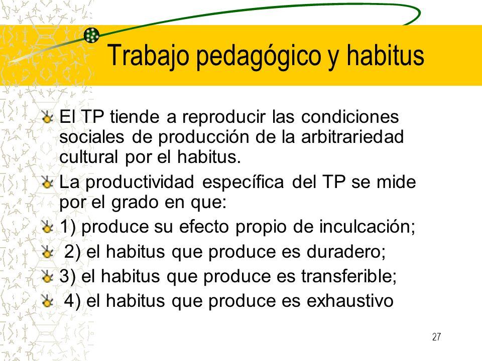 Trabajo pedagógico y habitus