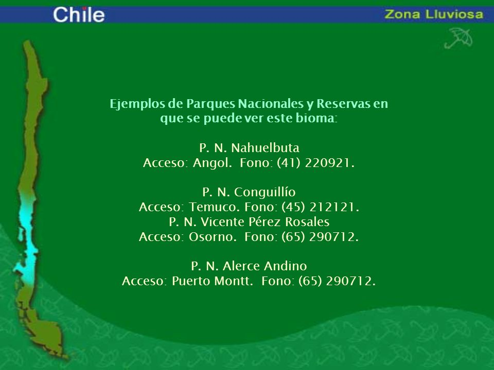 Acceso: Temuco. Fono: (45) 212121. P. N. Vicente Pérez Rosales