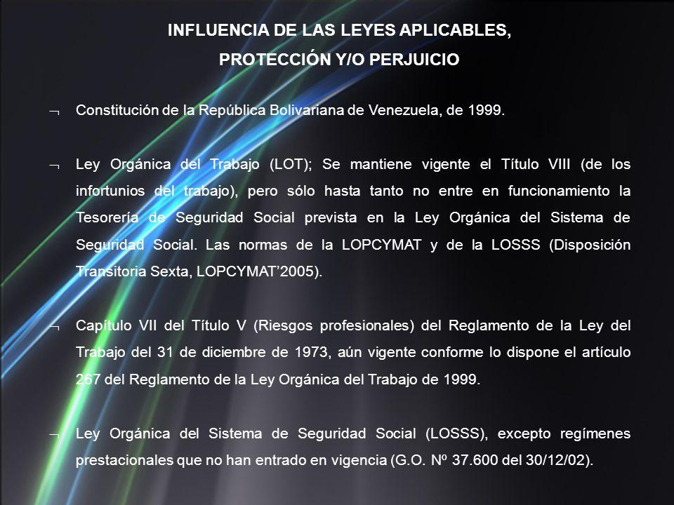 INFLUENCIA DE LAS LEYES APLICABLES, PROTECCIÓN Y/O PERJUICIO