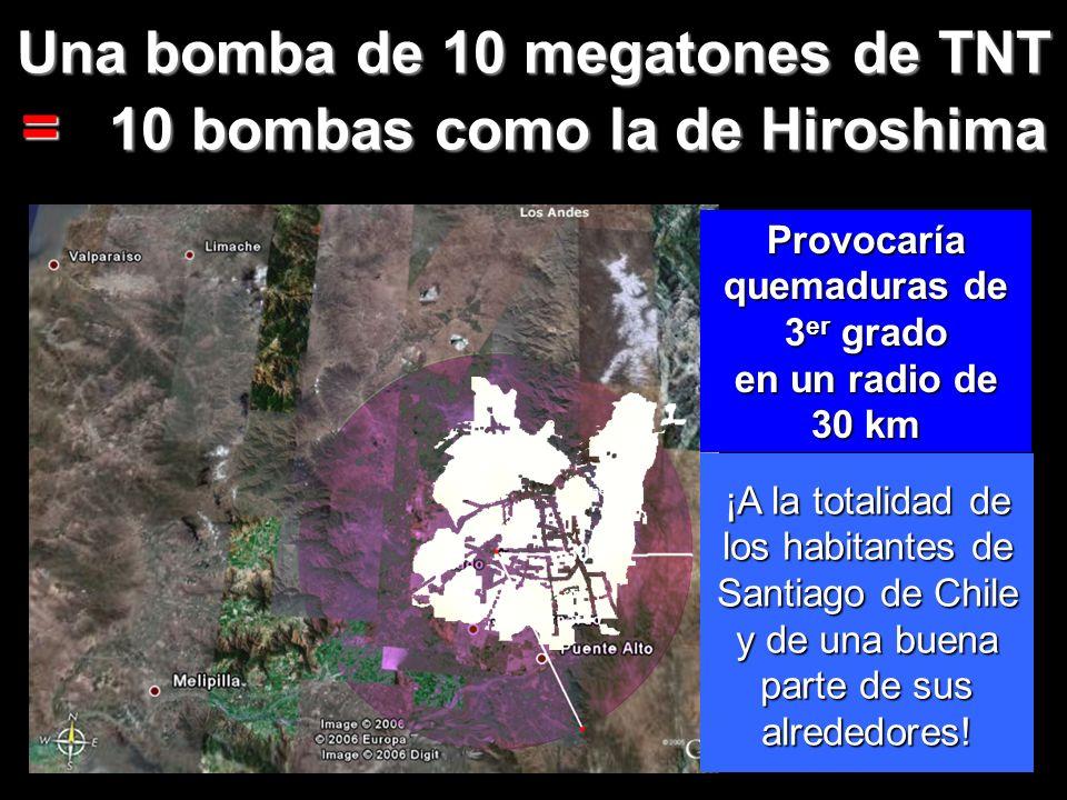 = 10 bombas como la de Hiroshima