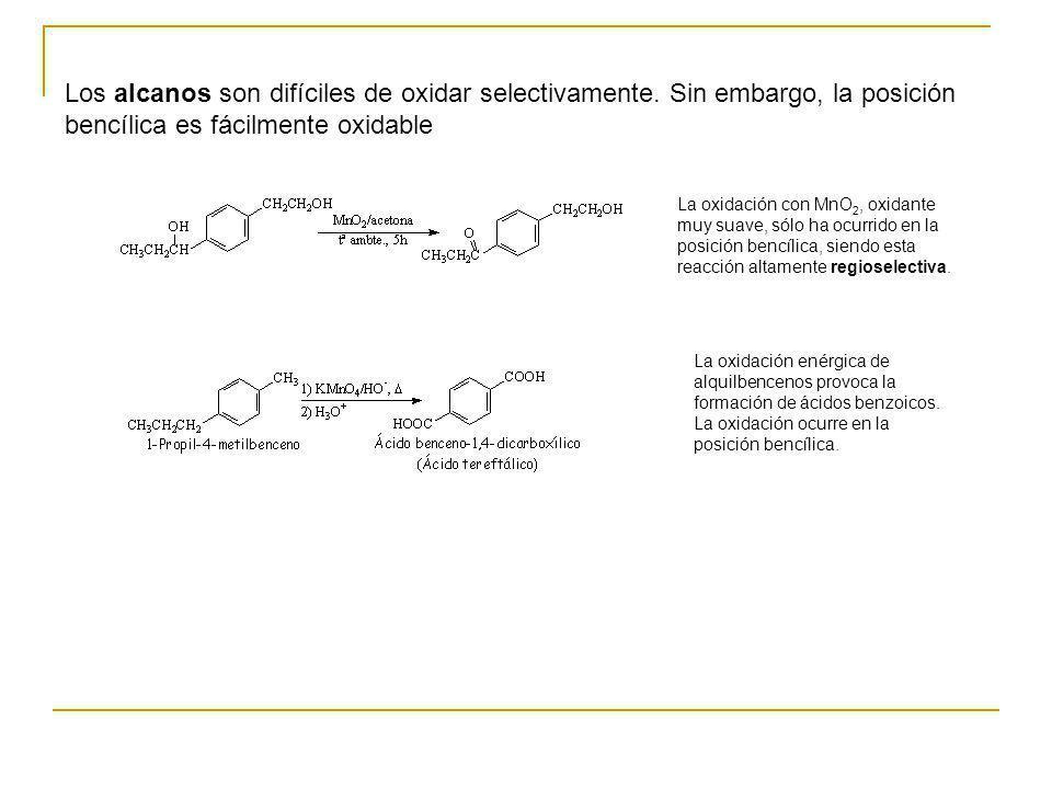 Los alcanos son difíciles de oxidar selectivamente