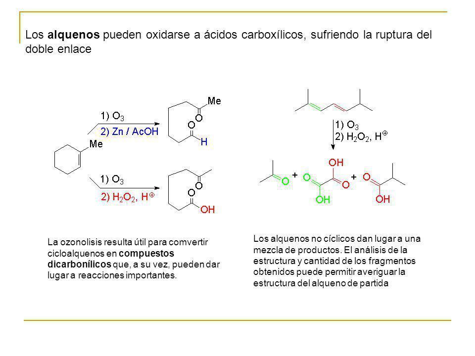 Los alquenos pueden oxidarse a ácidos carboxílicos, sufriendo la ruptura del doble enlace