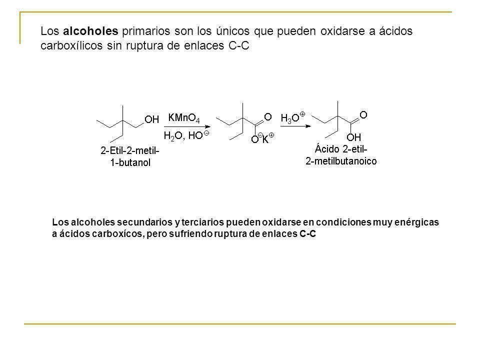 Los alcoholes primarios son los únicos que pueden oxidarse a ácidos carboxílicos sin ruptura de enlaces C-C