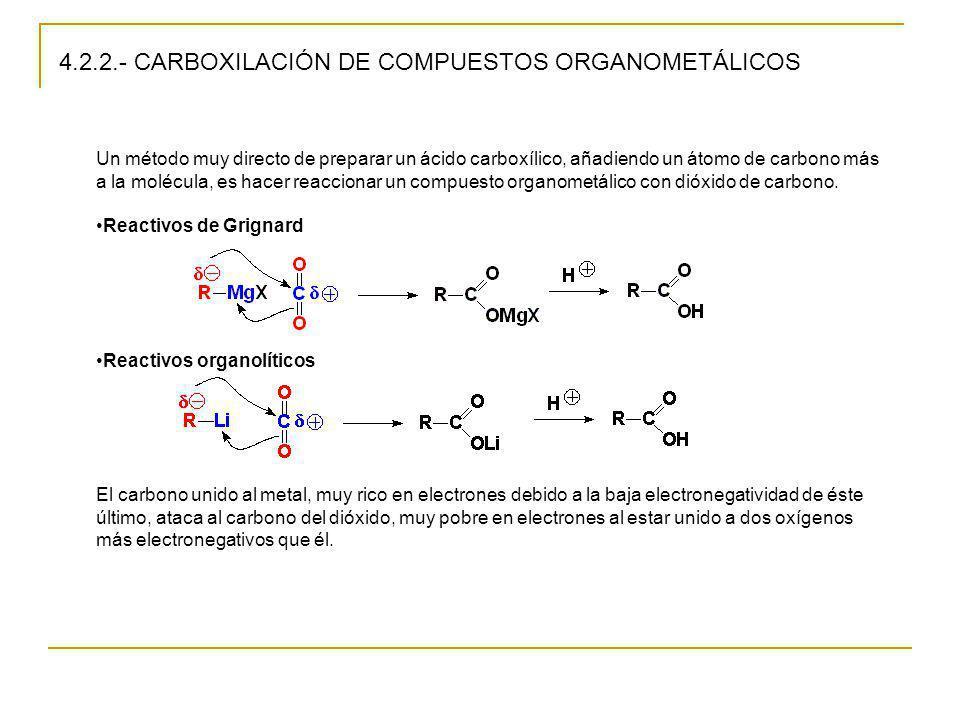 4.2.2.- CARBOXILACIÓN DE COMPUESTOS ORGANOMETÁLICOS