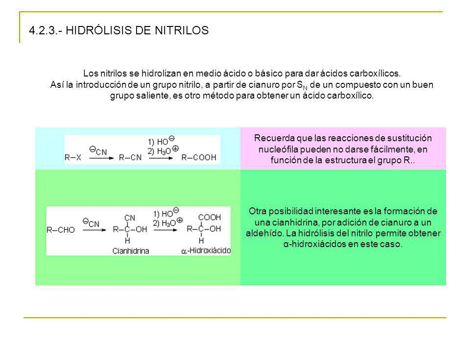 4.2.3.- HIDRÓLISIS DE NITRILOS