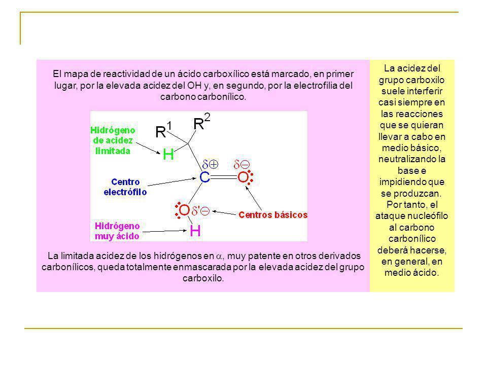 El mapa de reactividad de un ácido carboxílico está marcado, en primer lugar, por la elevada acidez del OH y, en segundo, por la electrofilia del carbono carbonílico.