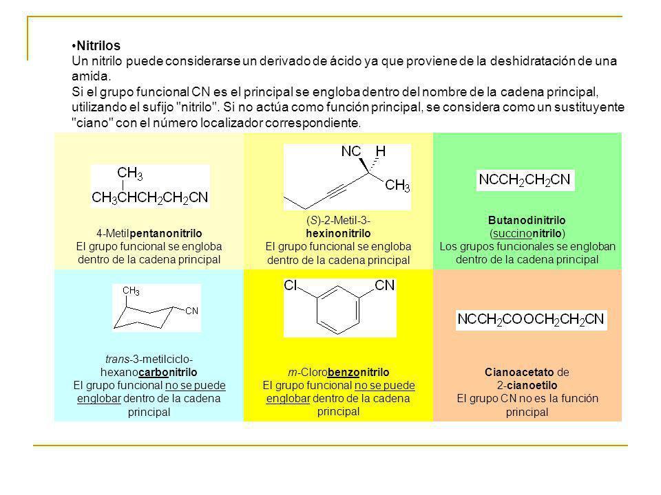 Cianoacetato de 2-cianoetilo El grupo CN no es la función principal