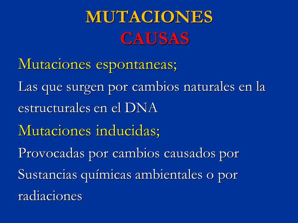 MUTACIONES CAUSAS Mutaciones espontaneas; Mutaciones inducidas;