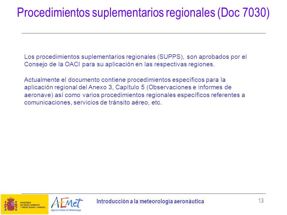 Procedimientos suplementarios regionales (Doc 7030)