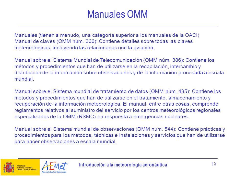 Manuales OMM Manuales (tienen a menudo, una categoría superior a los manuales de la OACI)