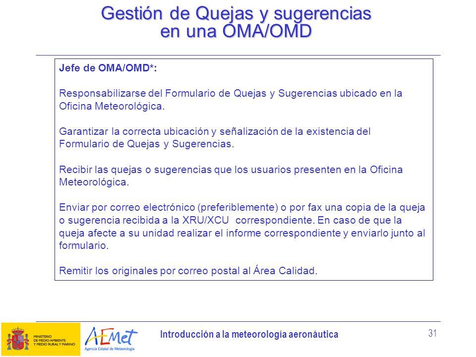 Gestión de Quejas y sugerencias en una OMA/OMD