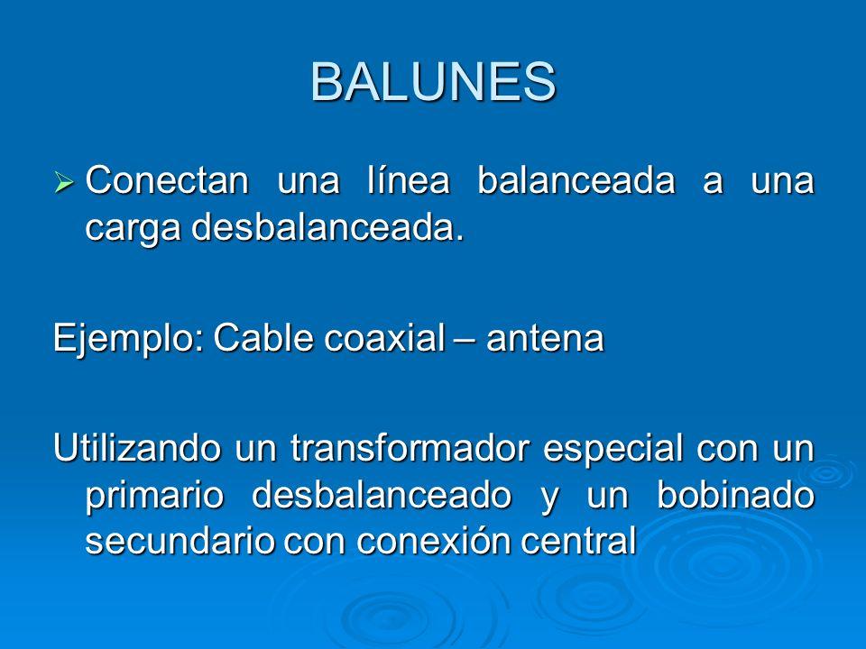 BALUNES Conectan una línea balanceada a una carga desbalanceada.